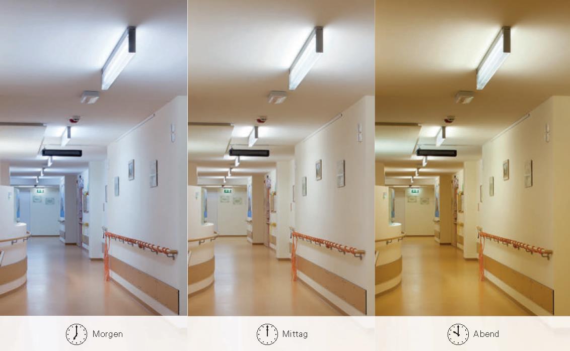 Bei der biodynamischen Tageslichtnachführung wird die Lichtfarbe und Beleuchtungsstärke automatisch in mehreren Stufen verändert.